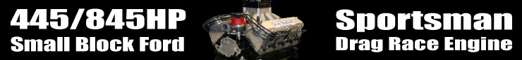 "445/845HP Sportsman 9.500"" Deck Small Block Ford Drag Race Engine"